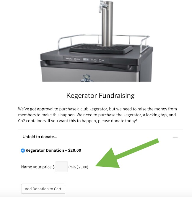 Kegerator name your price donation for pools