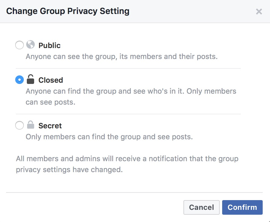 Facebook Group settings for a neighborhood pool