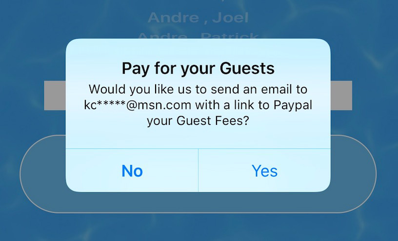 Pay your Pool Guests fees online with email reminder