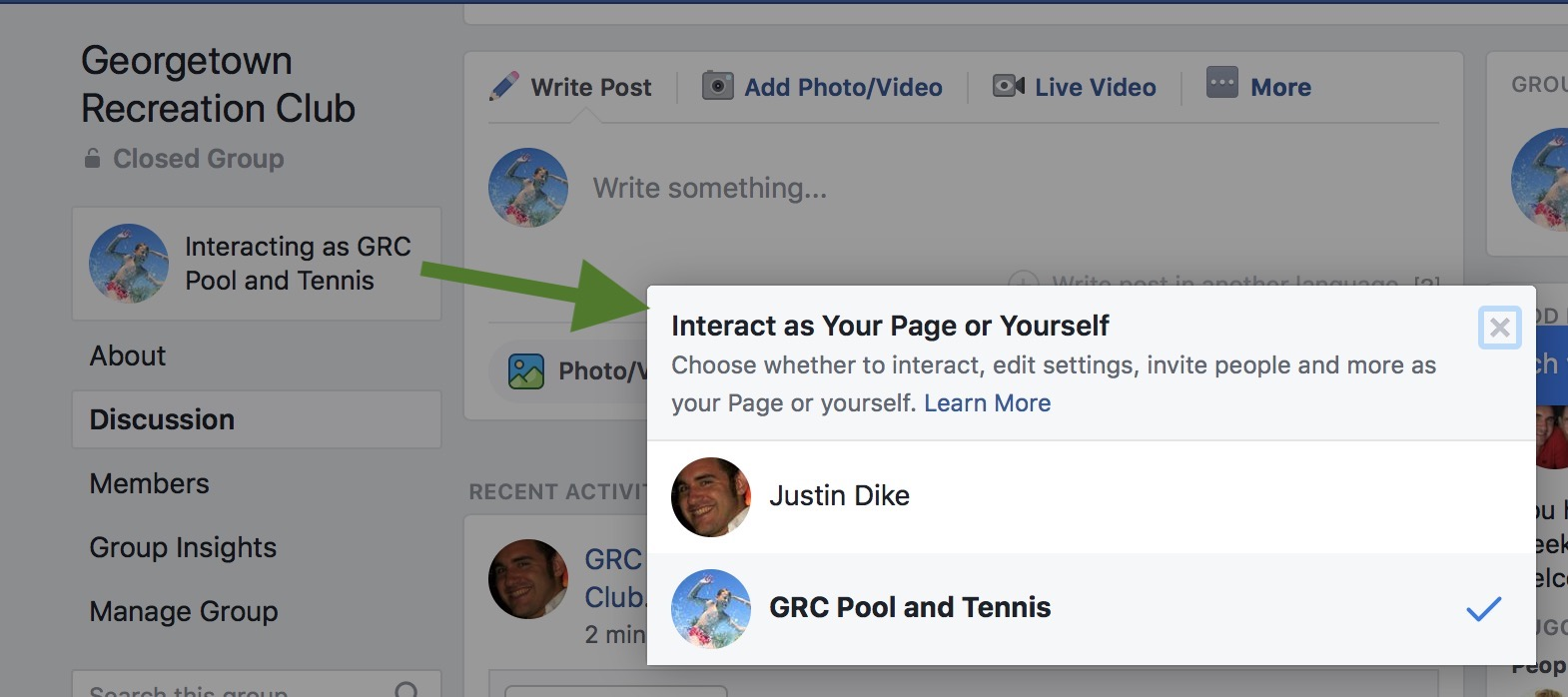 Where to look for Interact as Your Page or Yourself on Facebook